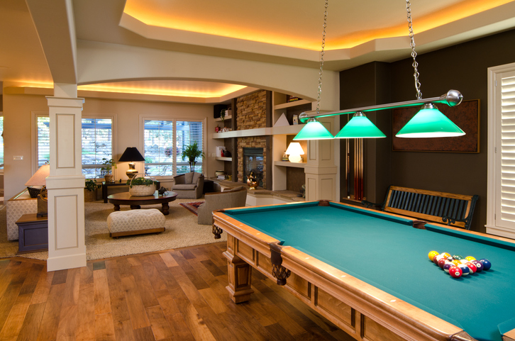 This home has a game room with a pool table.